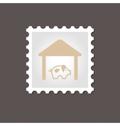 Pigsty stamp outline vector