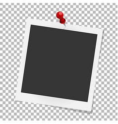 Realistic photo frame on red pin template photo vector