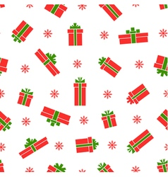 Seamless gift box pattern red gift boxes vector image vector image