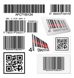 Set of bar codes and qr codes with labels vector image