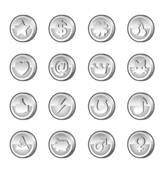 Set of silver coins vector image vector image