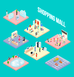 shopping mall set object vector image vector image