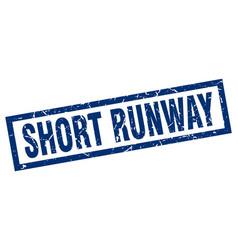 Square grunge blue short runway stamp vector