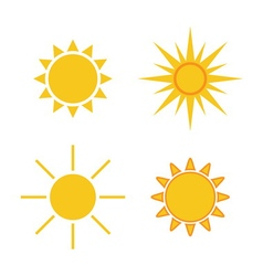 Sun icons set collection light yellow signs vector