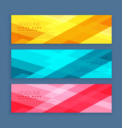 Three banners set designed with geometrical vector