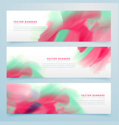 Three watercolor abstract banners set vector