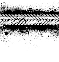 Tire track on ink blots vector