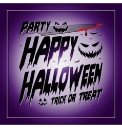Vintage Happy Halloween Typographical purple vector image