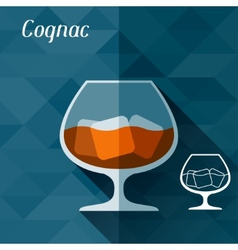 With glass of cognac in flat design style vector