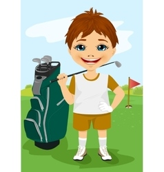 Young little boy with a golf club vector image vector image