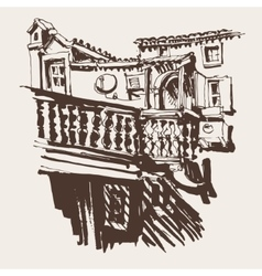 Sketching of old building in budva montenegro vector
