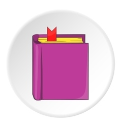 Thick book with bookmark icon cartoon style vector