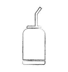 Canned drink with straw vector