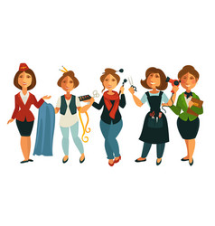 People professions woman stewardess tailor vector