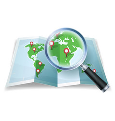 Magnifying glass on world map vector