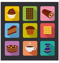 Confectionery icons color vector
