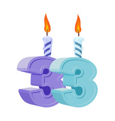 33 years birthday number with festive candle for vector