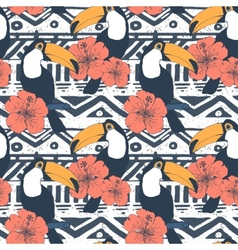 Seamless tribal pattern with toucans vector