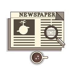 Isolated cartoon oldschool job seeker from newspap vector image