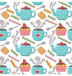 Tea time cute seamless pattern vector