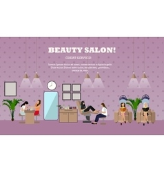 Beauty salon interior concept banners vector