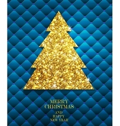 Christmas gold greeting card vector