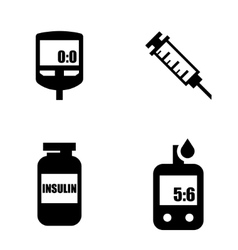 Diabetes black icon set blood glucose test vector