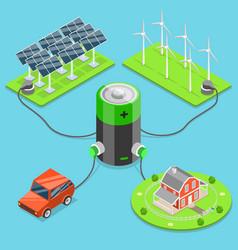 Alternative green energy flat isometric vector