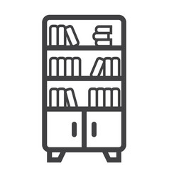 Bookshelf line icon furniture and interior vector