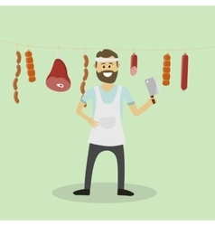 Butcher meat seller vector