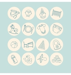 Child and baby care center thin line icons vector image vector image