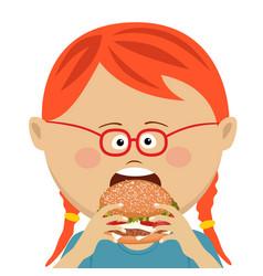 cute little girl eating a hamburger vector image vector image