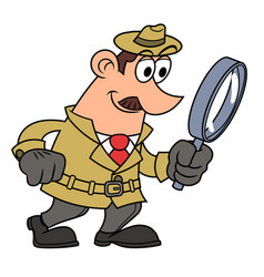 Detective is looking through the loupe vector