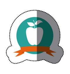emblem long apple fruit icon vector image