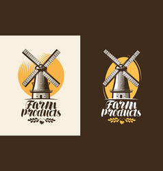 Farm products logo or label mill windmill icon vector