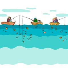 Fishing seamless background vector image