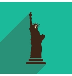 Flat icon with long shadow statue of liberty vector