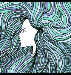 girl with long green and blue hair vector image vector image