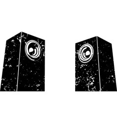 Grunge sound-system speaker icon in black white vector
