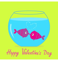 Kissing fishes in the aquarium valentines day vector