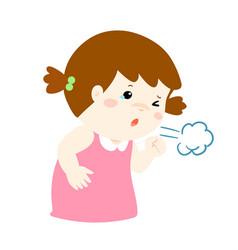 Little girl coughing cartoon vector