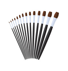 Long filbert artist paint brush stationary flat vector