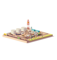 Low poly land oil and gas drilling rig vector