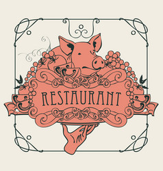 menu with hand tray still life and pigs head vector image