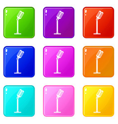 Microphone icons 9 set vector