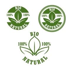Natural bio green labels set vector