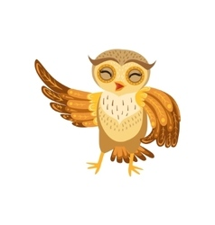 Owl laughing cute cartoon character emoji with vector