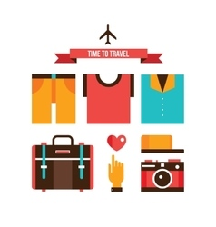 Packing bags Summer clothes Vacation Travel vector image