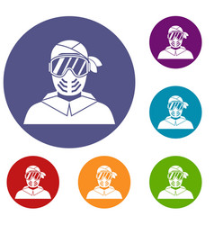 paintball player wearing protective mask icons set vector image vector image