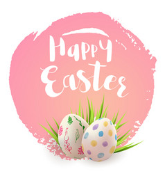 Pink easter card with eggs vector